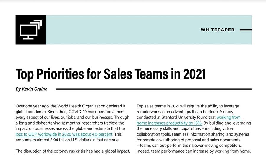 Top priorities for sales teams in 2021 whitepaper